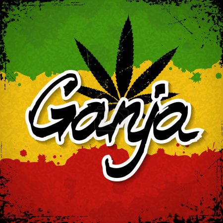 Illustration for Ganja lettering poster. Vector cannabis leaf and typography on rastafarian grunge background - Royalty Free Image