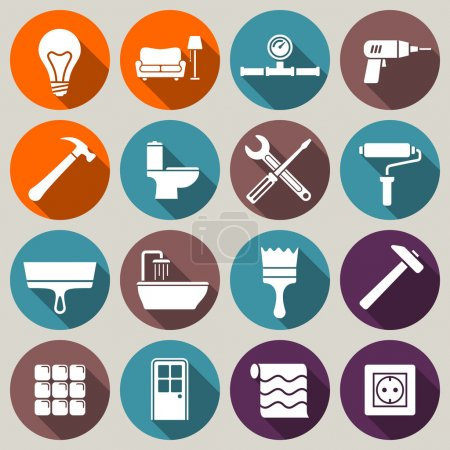 Illustration for Set of house renovation icons. Tools, equipment and furniture. Flat style with long shadow. - Royalty Free Image