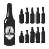 Set of 10 various craft beer bottles Different shapes and sizes Vector illustration on white background