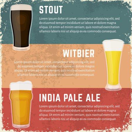 Craft beer styles banner. Glasses of various craft beer.