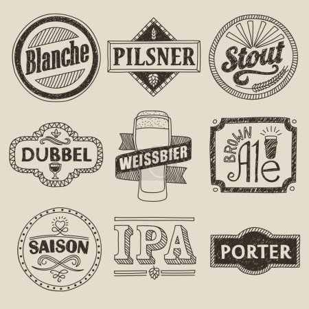 Hand drawn craft beer labels