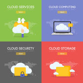 Cloud coputing storage service and security banner concept Vector illustration