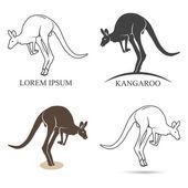 kangaroo silhouettes on the white background