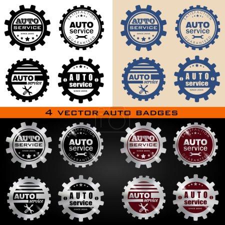 Illustration pour Insignes vectoriels de service automatique Set. Badges vectoriels, timbres . - image libre de droit