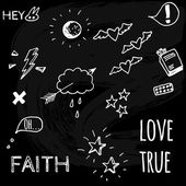 Vector art Hand drawn Doodle style sketches on Love theme Original art vector traced White chalk on black Chalkboard