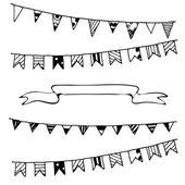 Hand drawn vector cartoon hand drawn sketchy ribbon banners elements set