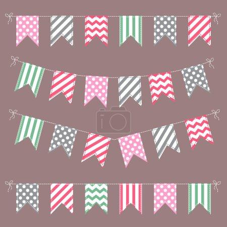 Ilustración de Conjunto de guirnaldas palustre plano multicolor con rayas y puntos aislados sobre fondo blanco - Imagen libre de derechos