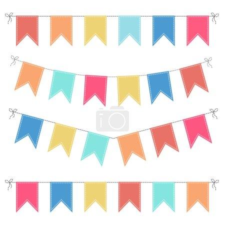 Ilustración de Conjunto de guirnaldas multicolor palustre plano sobre un fondo blanco - Imagen libre de derechos