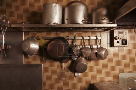 Kitchen utensils in old vintage professional bakery