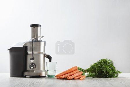 metallic professional juicer with empty glass