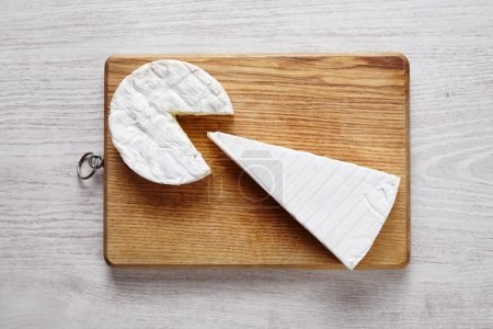 Cheese art camembert brie wooden desk white table ...