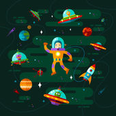 Space ufo and astronaut