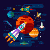 Space spaceship astronaut and planets