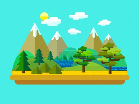 Illustration for Vector flat landscape with mountains, forest and lake. - Royalty Free Image