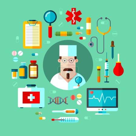 Photo pour Ensemble vectoriel d'icônes équipement médical instrument, pilules et médecin - image libre de droit