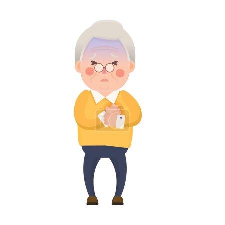 Vector Illustration of Old Man having Chest Pain, ...
