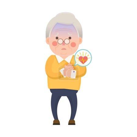 Vector Illustration of Old Man having Heart Attack...