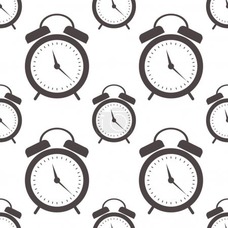 Seamless vector pattern. Symmetrical background with closeup black alarm clocks on the white background.