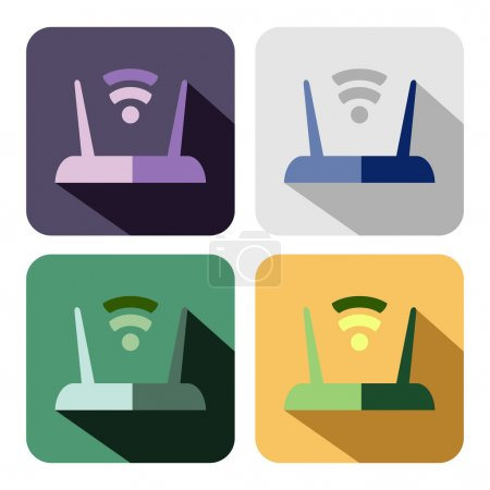 Vector icon. Set of colorful icons of router, isol...