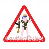 The sign on the car caution child Little baby Rambo Sticker for the car to alert the child