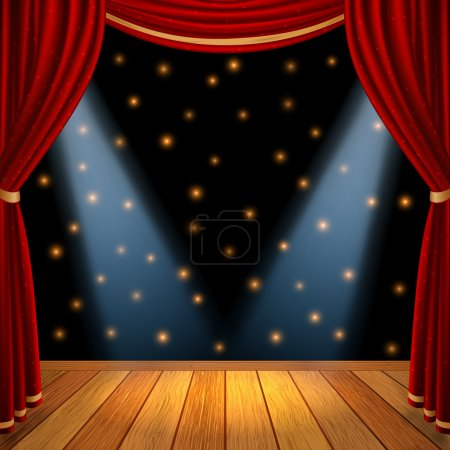 Empty theatrical scene stage with red curtains drapes