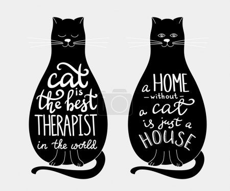 Illustration pour Calligraphie de citations de chat inscription ensemble sur la silhouette des chats noirs. Le chat est le meilleur thérapeute. Maison sans chat est juste une maison. Pour la conception de l'affiche ou une carte postale sur les chats. - image libre de droit