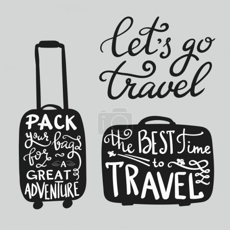 Illustration for Travel inspiration quotes on suitcase silhouette. The best time to travel. Pack your bags for a great adventure. Lets go travel. Motivation for traveling poster typography. - Royalty Free Image