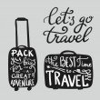 Travel inspiration quotes on suitcase silhouette. ...