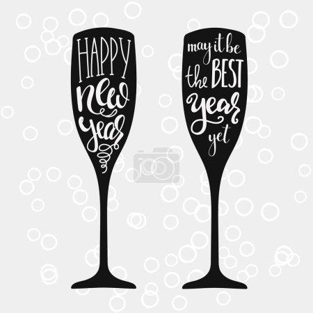 Illustration pour Champagne Nouvel An lettrage calligraphie moderne sur verre de champagne forme isolée éléments vectoriels typographie. Bonne année. Que ce soit la meilleure année . - image libre de droit