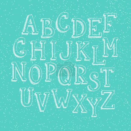 Illustration for Doodle 3d alphabet, vector simple hand drawn letters textured with pencil doodles. Decorative font for books, posters, postcard, web hand drawn style typography. - Royalty Free Image