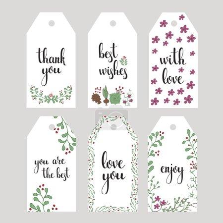 Ilustración de Conjunto de escritos mensajes cortos del estilo de caligrafía a mano vector. Gracias letras, amor, con amor, mis mejores deseos, disfruta. Elementos de diseño de tipografía postal o cartel - Imagen libre de derechos