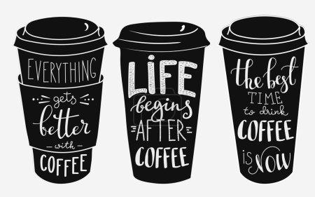 Illustration pour Citation lettrage sur tasse de café ensemble de forme. Citation de café de style calligraphie. Café promotion motivation. Typographie graphique. Tout va mieux avec le café. La vie commence après le café . - image libre de droit