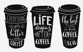 Quote lettering on coffee paper cup