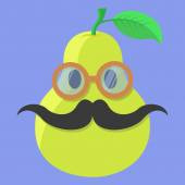 Vector pear cartoon Pear with glasses Pear with mustache Pear Fashion Pear isolated Pear icon
