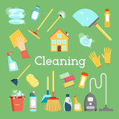 Household supplies and house cleaning flat icons collection Minimal vector graphics set Flat design concept for web site printed material infographics banners