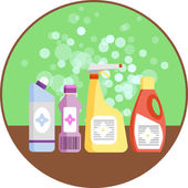 Set of household supplies Group of detergents on the shelf Minimal flat vector graphics Icon for detergent plastic bottles Concept of cleaning