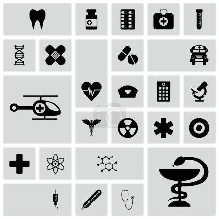 Illustration pour Ensemble d'icônes noires sur fond blanc de la médecine - image libre de droit