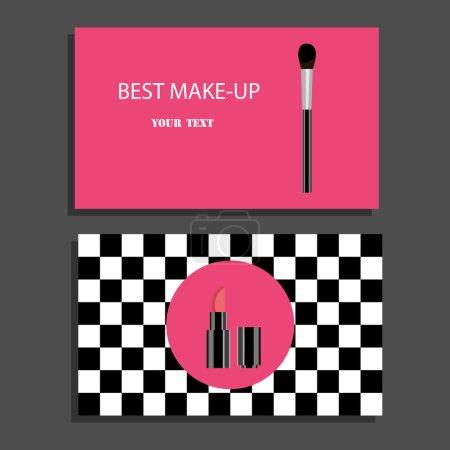 Illustration pour Carte de visite du maquilleur. Modèle vectoriel avec motif d'éléments de maquillage - image libre de droit