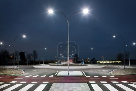 Roundabout illuminated by led lights  at twilight