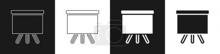 Illustration for Set Chalkboard icon isolated on black and white background. School Blackboard sign. Vector. - Royalty Free Image