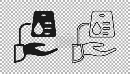 Illustration pour Icône de don de sang noir isolé sur fond transparent. Vecteur. - image libre de droit