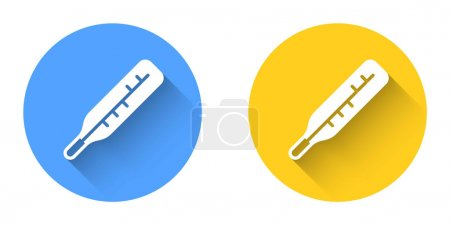 Illustration for White Medical thermometer for medical examination icon isolated with long shadow background. Circle button. Vector. - Royalty Free Image