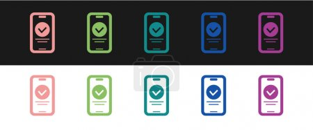 Illustration for Set Online quiz, test, survey or checklist icon isolated on black and white background. Exam list. E-education concept. Vector. - Royalty Free Image