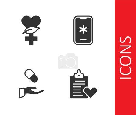 Illustration pour Définir le dossier patient Ethnoscience prescription médicale et appel d'urgence 911 icône. Vecteur. - image libre de droit