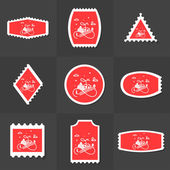 Collection of Chines New Year postage stamp cards notes stickers labels tags Template for scrapbooking wrapping notebooks notebook diary decals school accessories