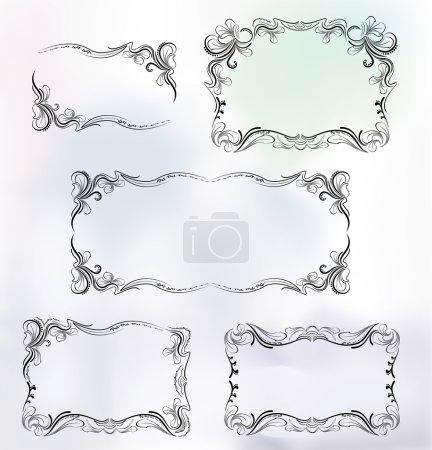 Illustration pour Cadre dans un style luxueux. couleurs bleu clair. illustration vectorielle - image libre de droit