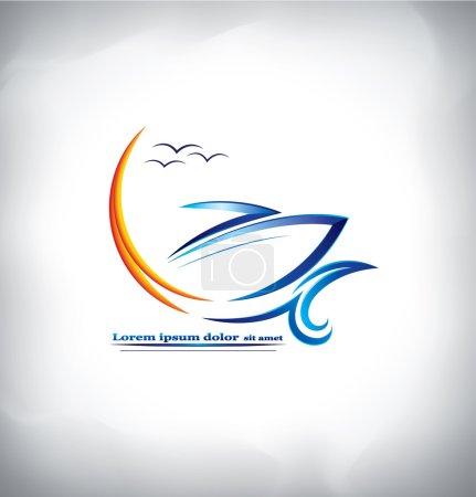 sea water, ship logo