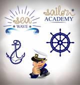set of marine sea emblems