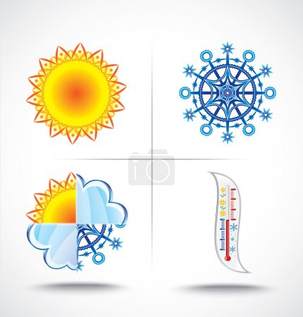 Icons set of heat and cold