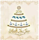Neujahr im marine-Stil. Vektor-Karte